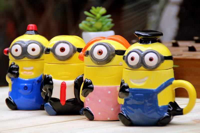 小黄人3d立体水杯 可爱卡通彩绘杯子 3d动物杯子 陶瓷杯 儿童杯子 301