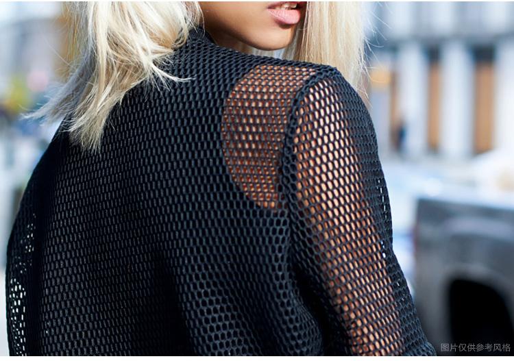 cocobella 2016春秋新品欧美范运动风网纱棒球衫百搭女外套ct232 粉色图片
