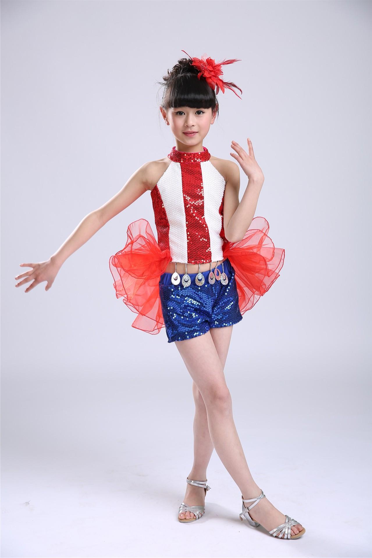 2015新款儿童爵士舞演出服女幼儿亮片演出服装儿童燕尾爵士舞服装