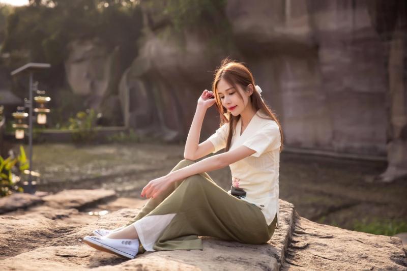 蓝莎域2016新款春夏手绘印花 改良汉服茶服 复古中国风 棉麻上衣女