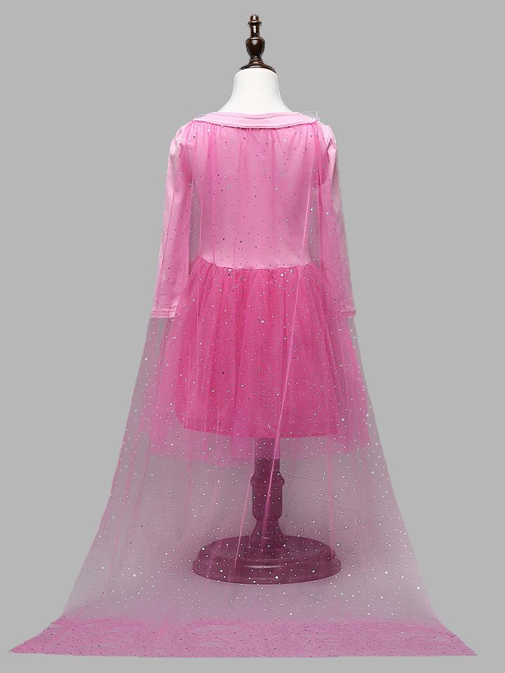 欧美童装冰雪奇缘公主裙儿童礼服连衣裙网纱女童裙子fz291 紫色 110cm