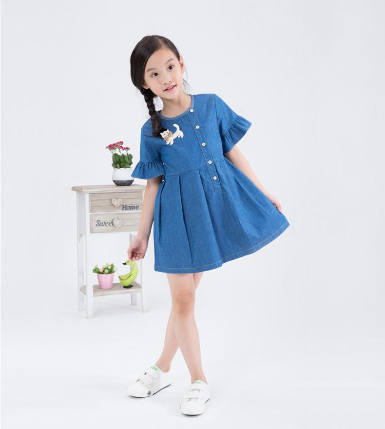 牧童童装2016新款女童裙子儿童牛仔连衣裙 湛蓝 130