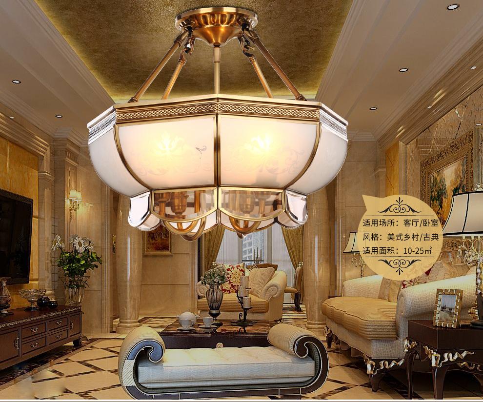 欧式全铜吸顶灯美式客厅卧室复古铜灯餐厅