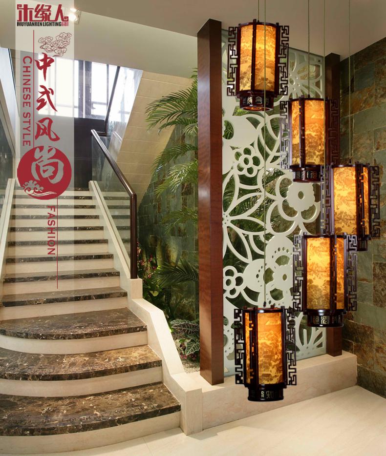 木缘人中式旋转楼梯灯仿古典吊灯复式楼梯间灯具复古实木艺雕花清明上图片