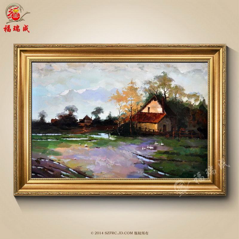 纯手绘欧式古典风景油画手绘客厅沙发背景装饰画古典风景装饰油画