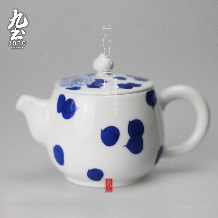 手绘青花日式禅意花茶茶壶