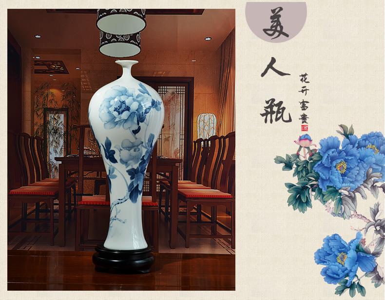 陶瓷手绘花瓶摆件中式客厅电视柜博古架