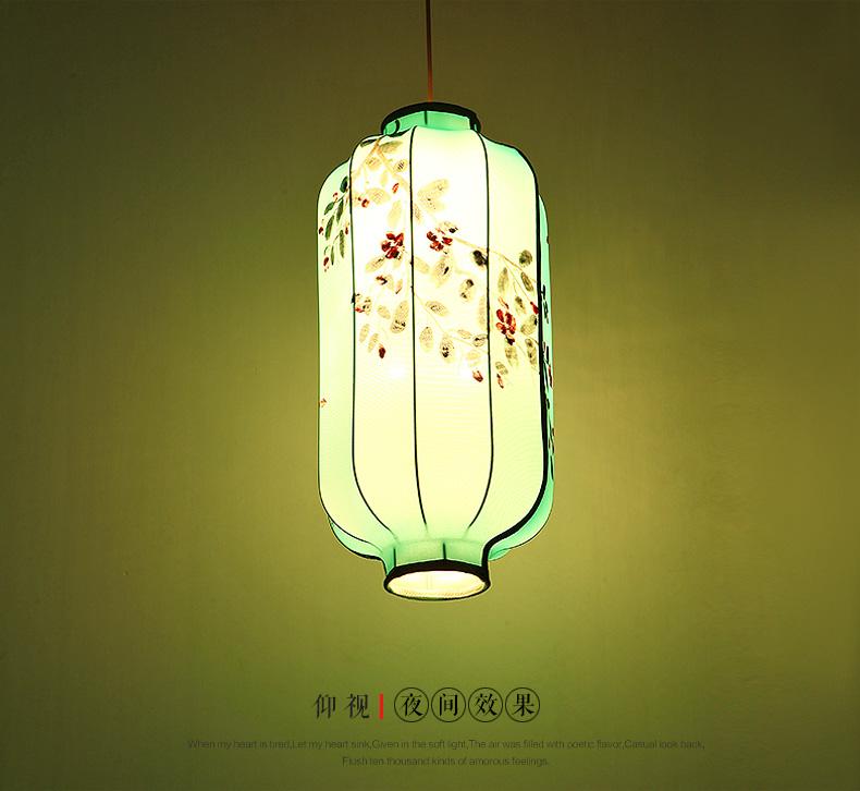 太古新中式手绘吊灯现代简约布艺灯笼吊灯仿古茶馆餐厅会所灯2945 送
