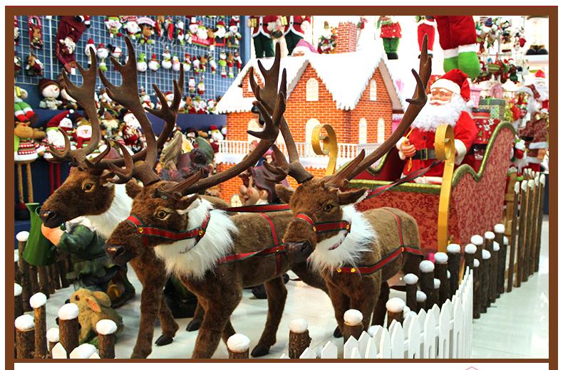 圣诞鹿拉车 圣诞大型装饰鹿马车商场装饰摆设鹿拉圣诞老人 2015小号