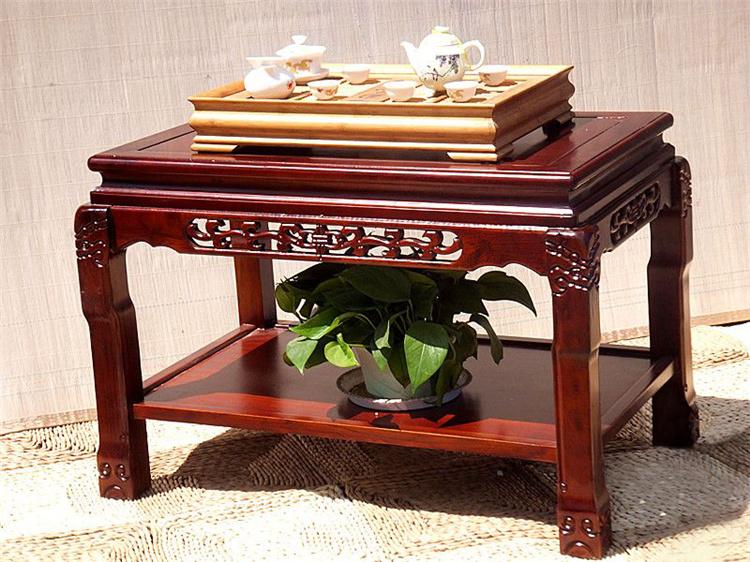 花语隆 实木 榆木茶几 鱼缸架 盆景架花几 双层茶几 家居摆件 高57