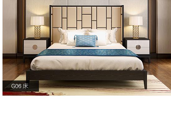 简约新中式床新中式榆木床图片11