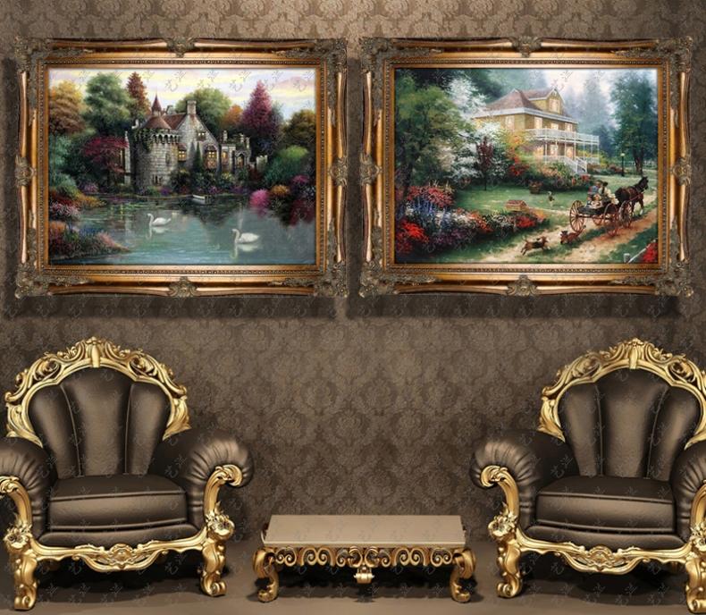 家居手工手绘欧式油画有框别墅客厅玄关壁炉装饰画托马斯花园风景 514