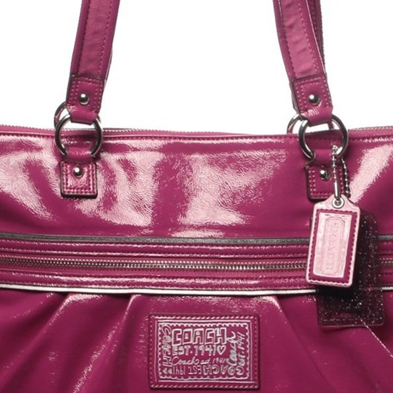 coach gray patent leather handbag  coach daisy liquid gloss