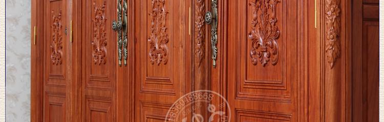 木中央 红木家具 花梨木四门大衣柜 实木欧式衣橱 新古典法式 全实木