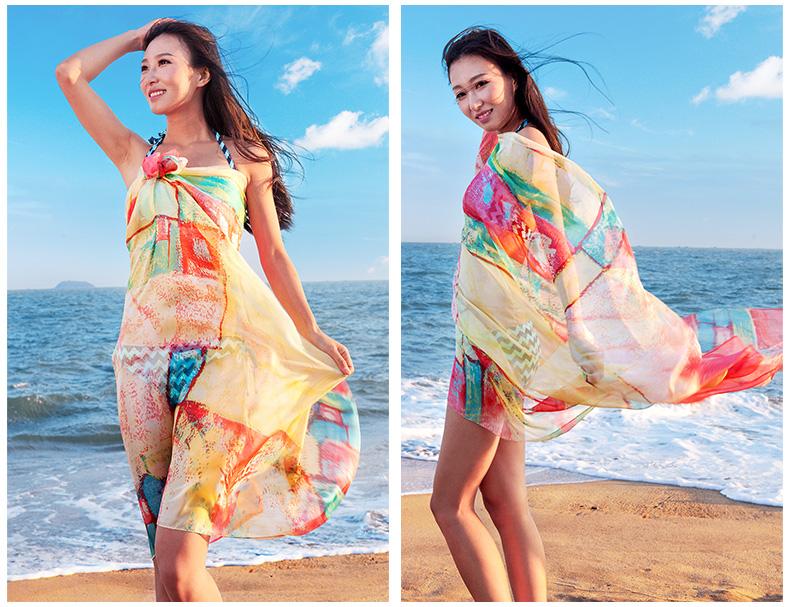 西子映香女夏季防晒丝巾海边遮阳披肩百搭纱巾度假沙滩巾出游围巾