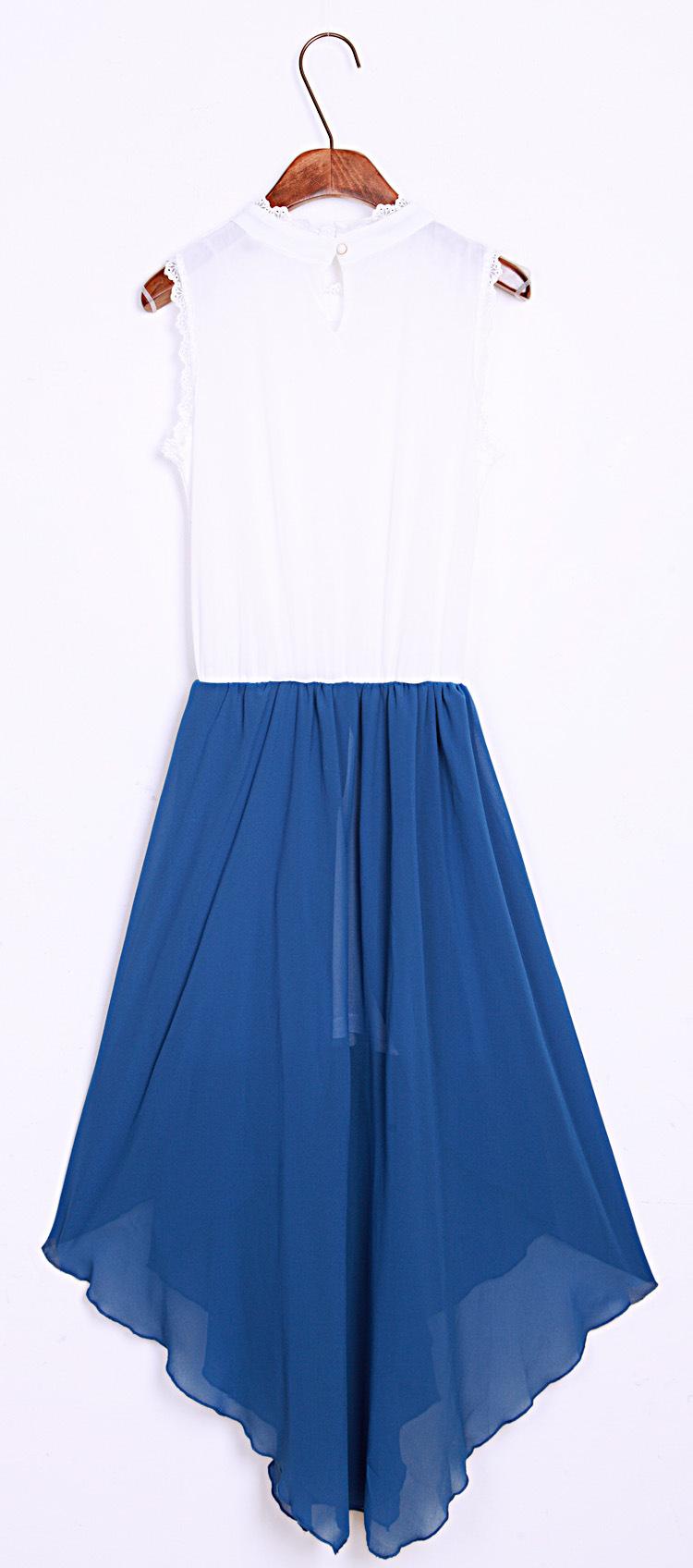 蓝色长裙连衣裙夏
