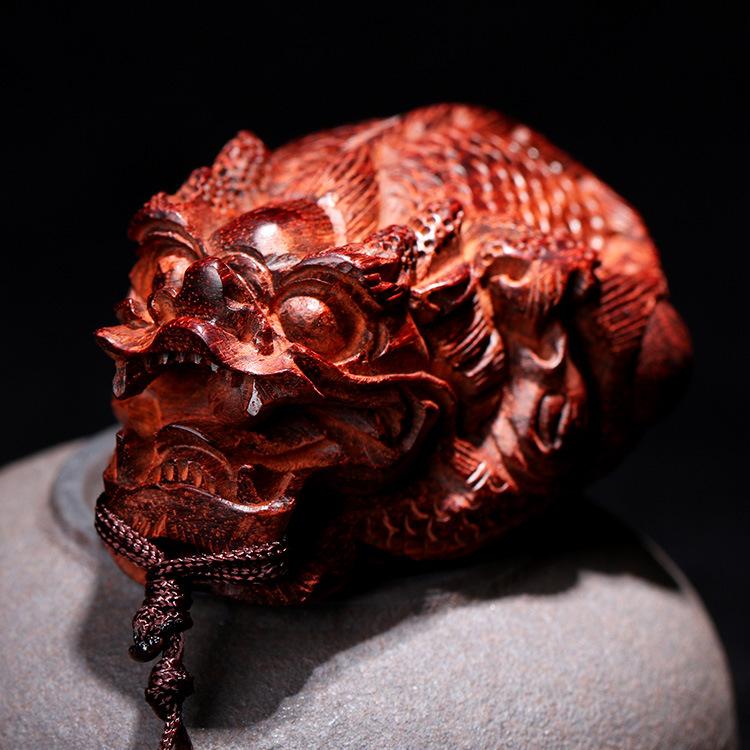 【一对】小叶紫檀木雕刻龙鱼吐珠 红木手工艺 文玩手把件车挂
