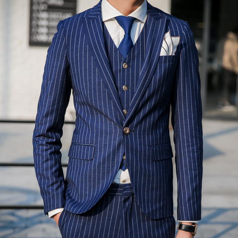 uyuk2016韩版修身 绅士竖条纹男士西服套装 新郎西装