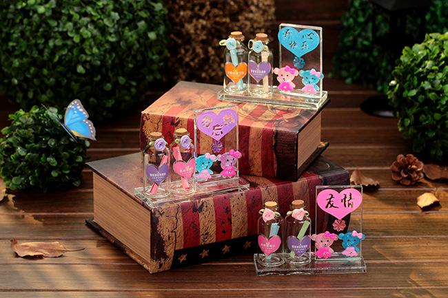 意外可爱小熊许愿瓶摆件 祝福语学生情侣礼品玻璃工艺