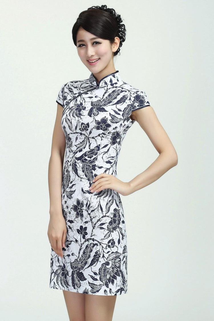 旗袍夏装改良复古连衣裙立领棉麻手绘中式