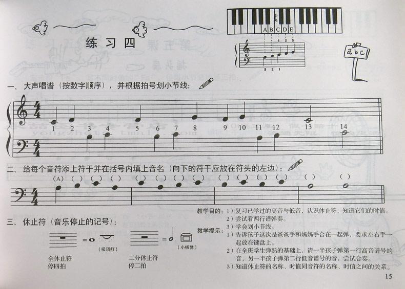序  编者的话  大谱表  五线谱儿歌  认识电子琴  预备课