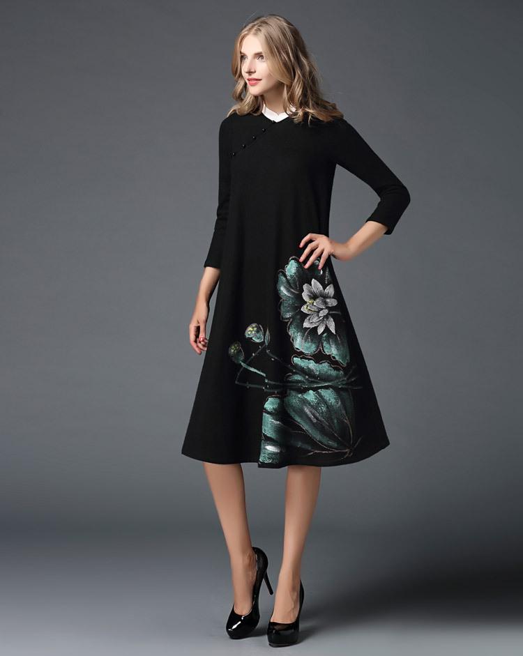 锐彧服饰欧洲站女装秋冬复古手绘羊毛呢裙改良旗袍长裙打底连衣裙