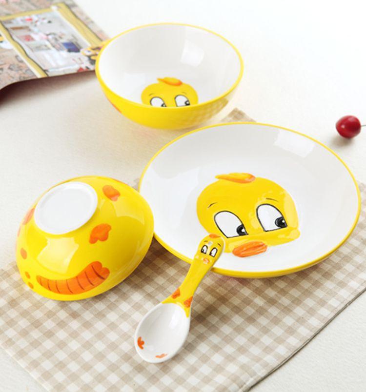 陶瓷儿童餐具可爱卡通面碗盘子礼品套装3d手绘动物碗 方然 小飞象 4