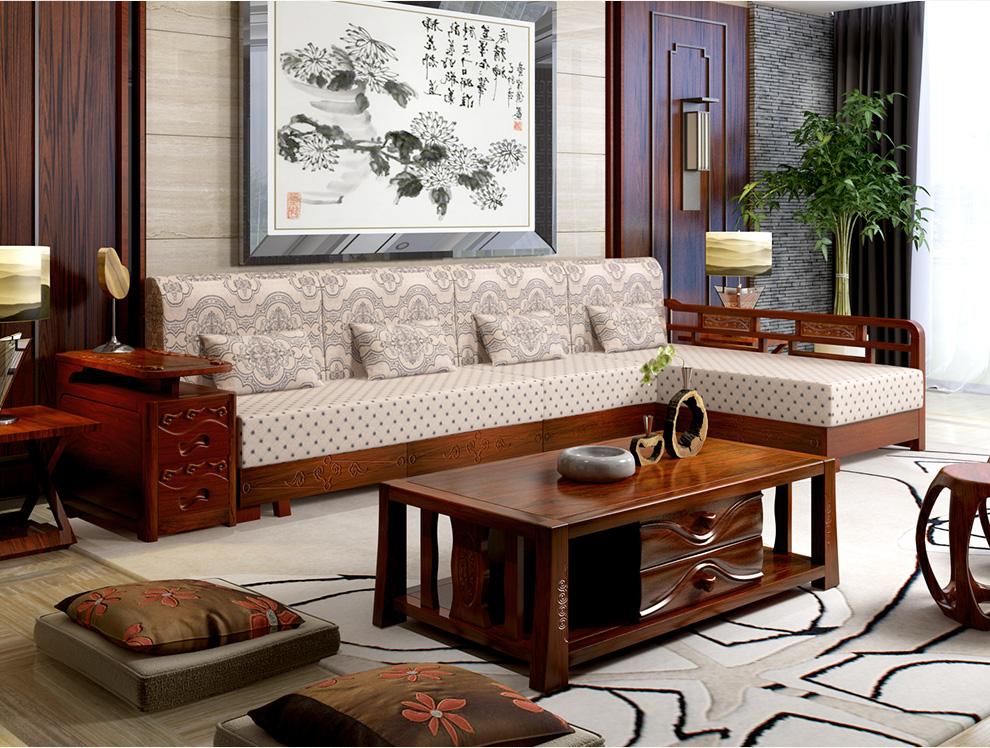 客厅家具 沙发 初林 初林 中式客厅 水曲柳 组合 实木沙发 水曲柳组