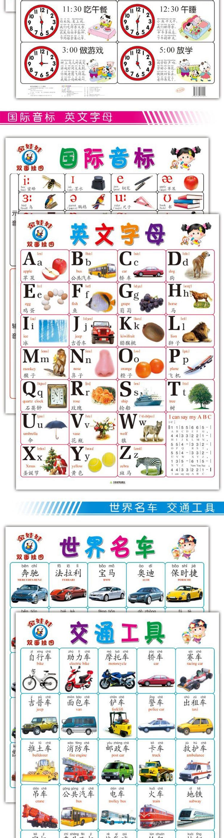看图识字(正背) 6.看图认字+认生字 7.英文字母+国际音标 8.