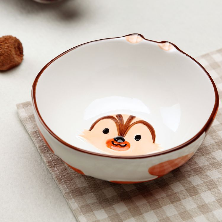 陶瓷儿童餐具可爱卡通面碗盘子礼品套装3d手绘动物碗