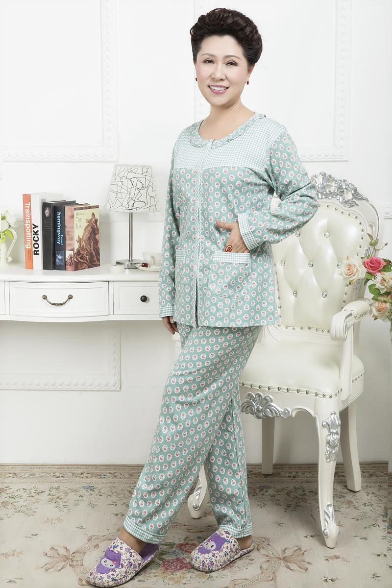 春秋冬季女士睡衣长袖中老年全棉加大码中年妈妈套装针织棉拼色花朵