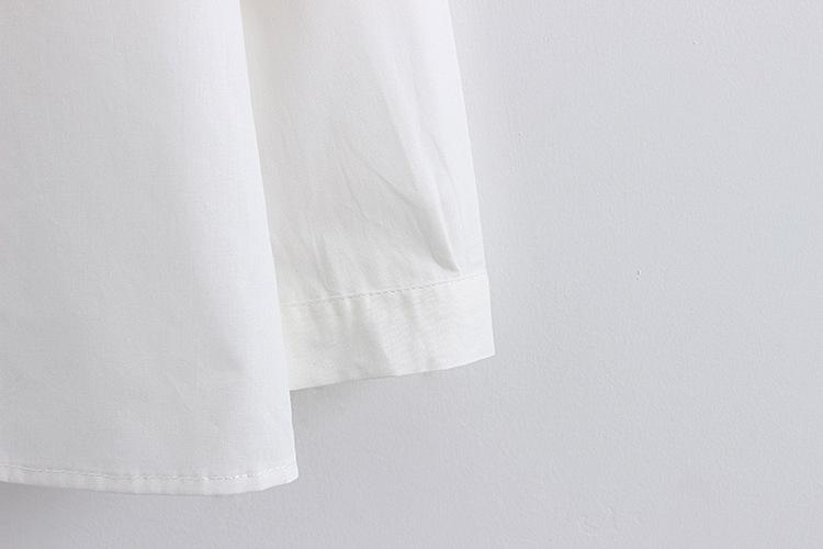 情人瑜伽2016新款刺绣狐狸棉麻亚麻长袖打底衬衫女挽袖女士衬衣 白色