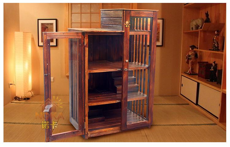诺卡双层三层猫屋实木猫窝碳化木质猫房子室内外猫爬架笼猫屋别墅 l号