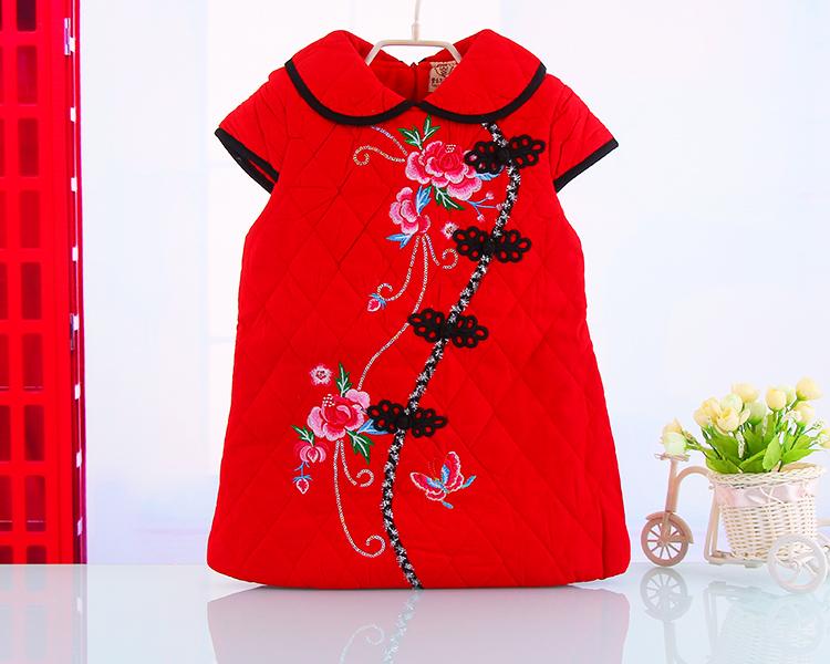 中小女童旗袍裙唐装冬款儿童旗袍幼儿园表演礼服新年装婴儿加绒加厚女