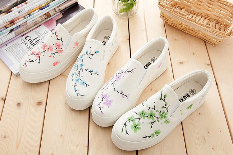 鞋小白鞋梅花手绘鞋