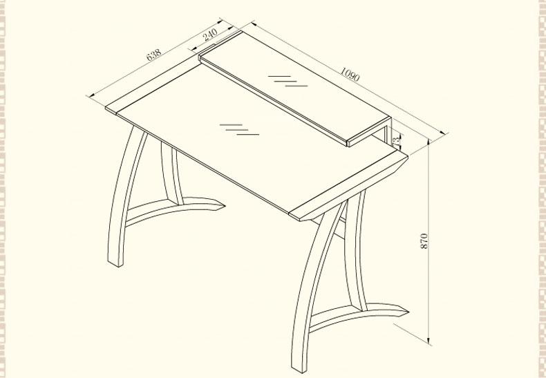 书房家具 电脑桌 曲雅居 曲雅居台式机钢化玻璃电脑桌创意卧室实木