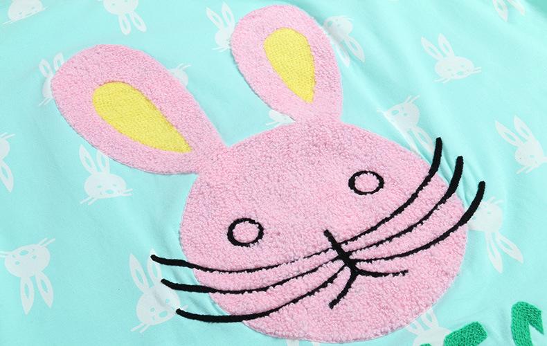 qiniqing韩版秋季新款可爱卡通兔子睡衣休闲长袖纯棉女士家居服套装b0