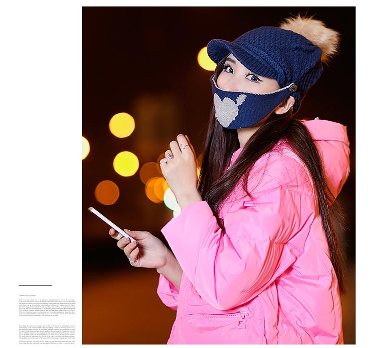 戴帽子口罩的女生头像