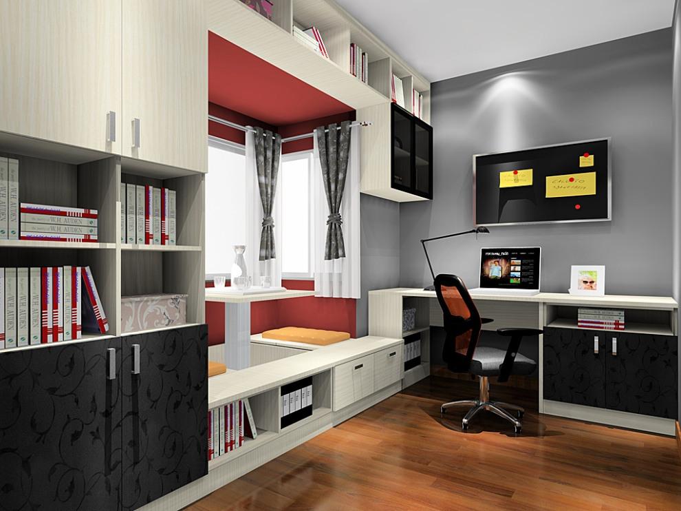 尚品宅配 书柜书架 连体书桌柜凹位设计 飘窗 榻榻米升组合设计 上门图片