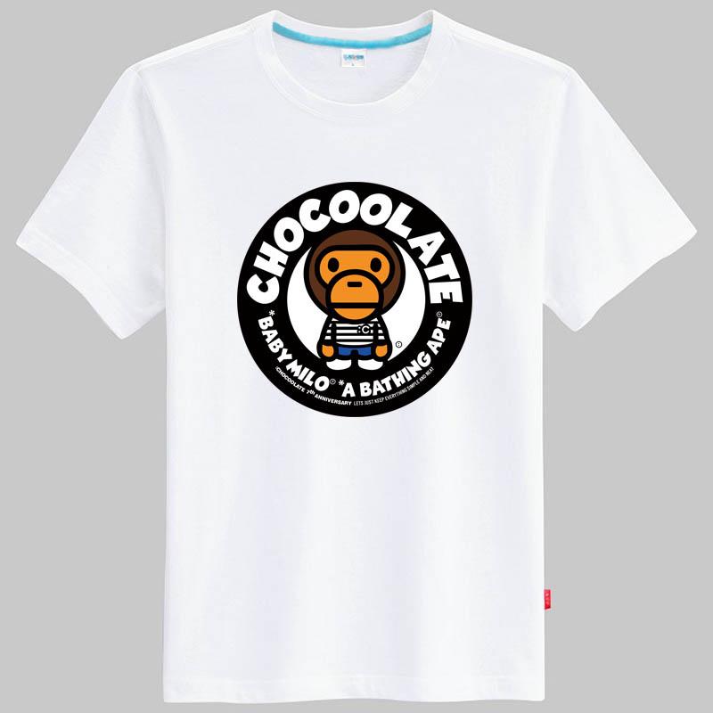 乐酷 潮牌 可爱卡通猴子图案印花t恤 加肥加大码短袖半袖 黑色 男款4x