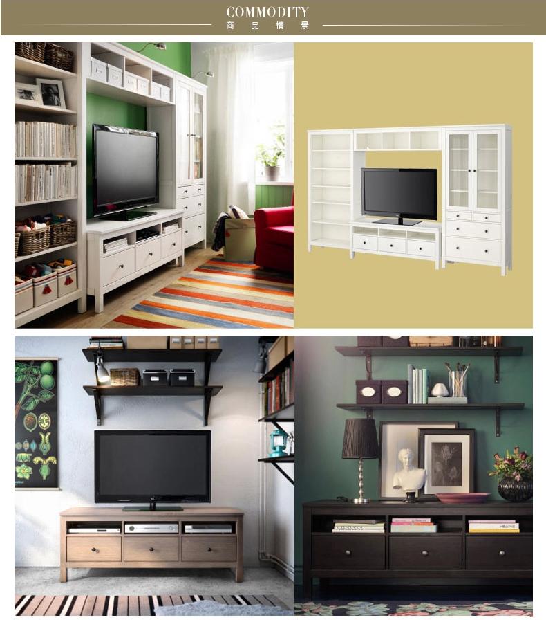 嘉宜美简欧电视柜组合电视机柜背景墙欧式实木电视柜电视墙柜简约