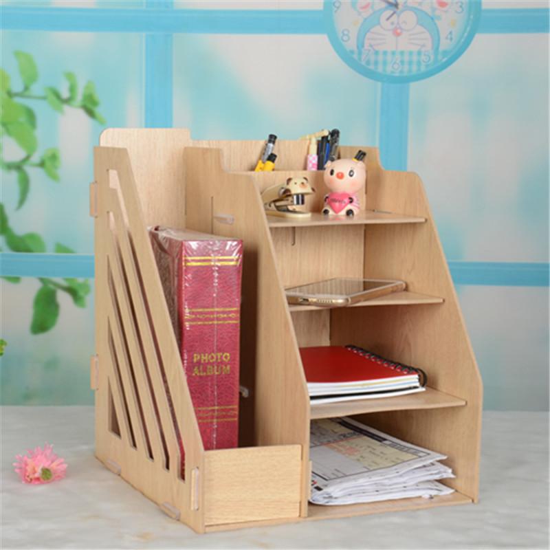 韩国木质收纳盒 办公收纳架 文件架 创意书架 白橡抽屉图片