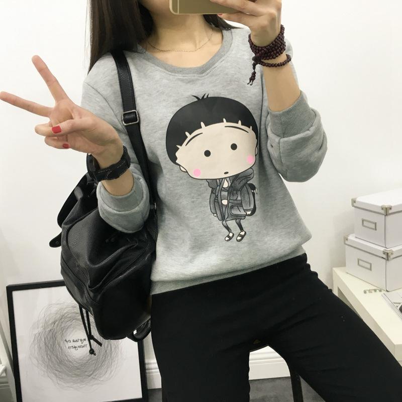 淼妙2015韩版可爱樱桃小丸子甜美学院风卫衣9046 灰色 均码