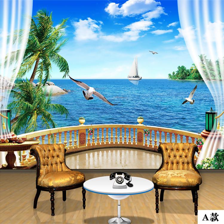 塞拉维3d大海风景椰树阳台窗户墙纸壁画现代简约客厅沙发电视背景墙壁