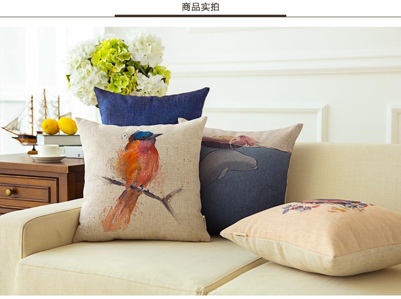 手绘插画沙发抱枕汽车办公室小清新靠垫花鸟卡通靠枕