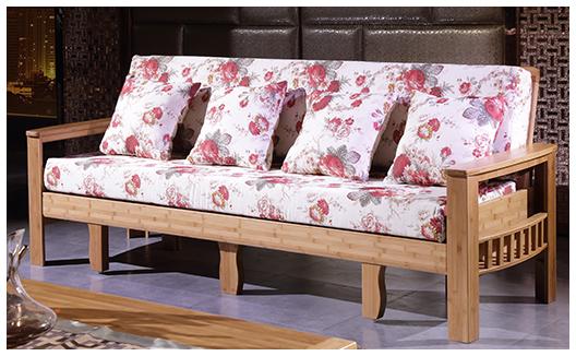 实木沙发床 中式现代 楠竹沙发 客厅折叠沙发床组合三人 实木推拉沙发