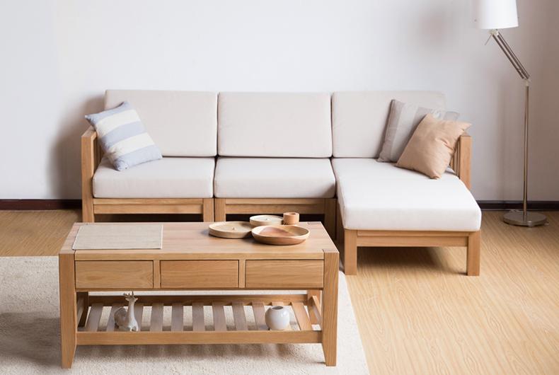 爱家佳 实木沙发组合北欧橡木家具套装组合多功能自由