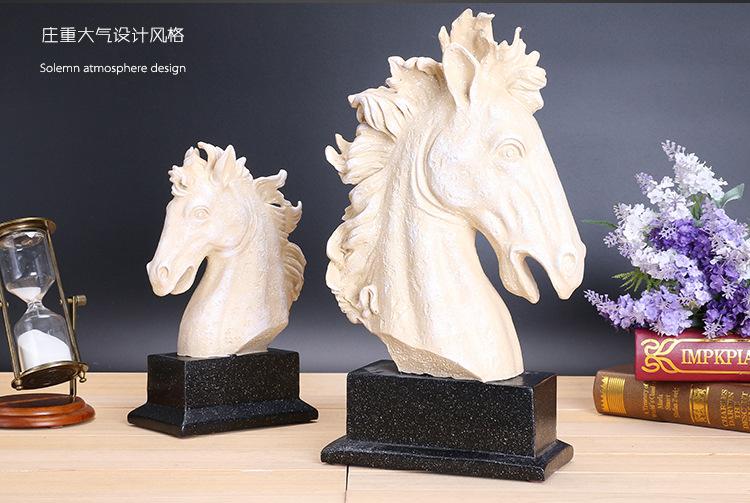 欧式家居树脂摆件高档复古马头两件套创意工艺品婚庆