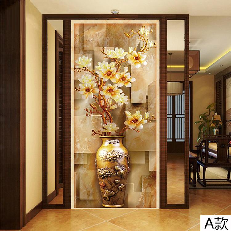 塞拉维3d立体玉兰花瓶玄关墙纸壁画现代中式客厅进门墙走廊过道楼梯间图片