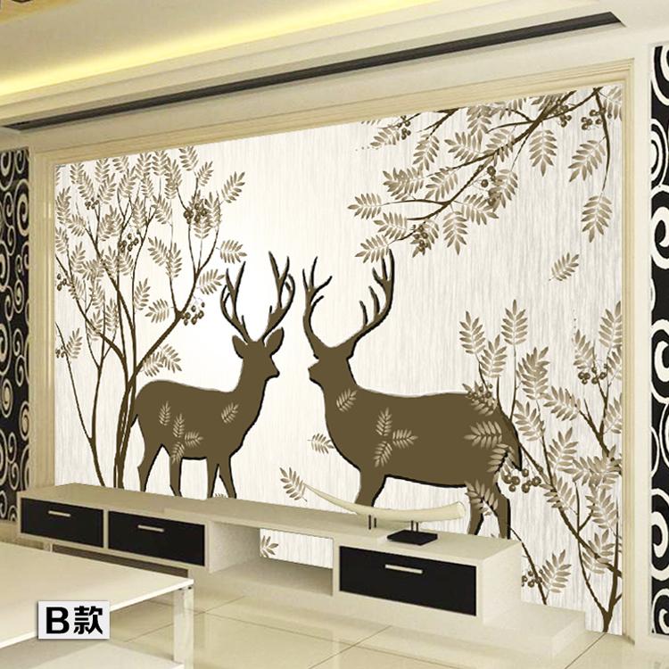 塞拉维复古怀旧手绘风格墙纸壁画现代简约客厅抽象树小鹿背景墙壁纸无